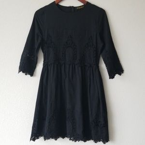 {Missguided} Black Embroidered 3/4 Sleeve Dress